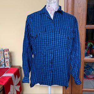 Liz Claiborne | Blue Plaid Button Down Shirt